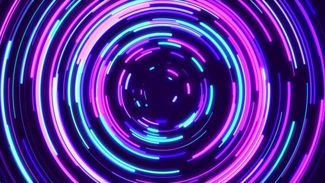 抽象的な円ネオンライトバックグラウンドループ可能 - 対称点の映像素材/bロール