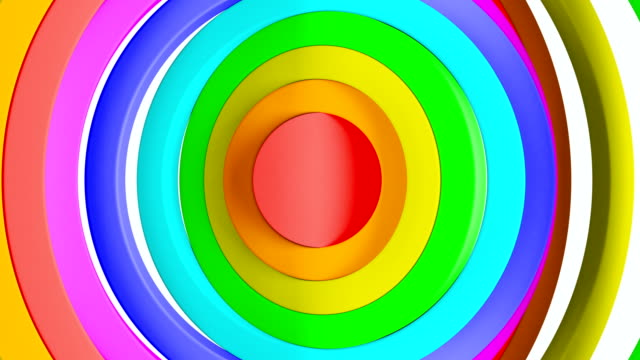Abstract Circles Waving in Rainbow Colors Seamless Background. Looped 3d Animation of Colored Rings Rippling Pattern. Art Concept.