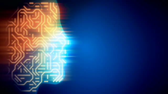 Abstract circuit board in human head loopable background