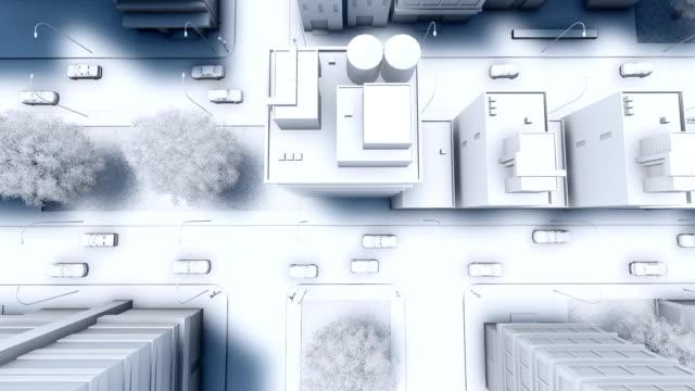 vidéos et rushes de trafic de rue vue aérienne directement au-dessus de la ville abstraite - image teintée