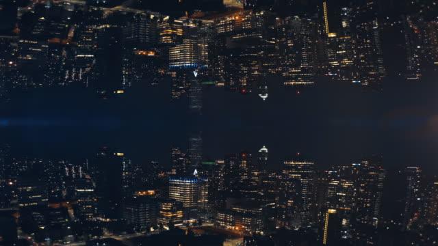 paesaggio urbano astratto paesaggio notturno sfondo di skyline buildings mirror aerial - caleidoscopio motivo video stock e b–roll