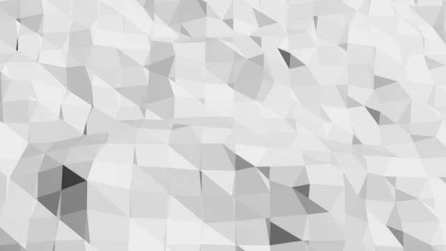 Abstract clean black and white low poly waving 3D surface as trendy background. Grey geometric vibrating environment or pulsating background in cartoon low poly popular stylish 3D design. video