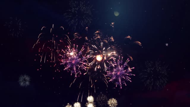 Abstract colored firework in night sky Loop Animation Background.