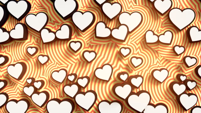 Abstract colored hearts on a orange background. Colorful sign pattern loop animation. 3d rendering. 4K, Ultra HD resolution.