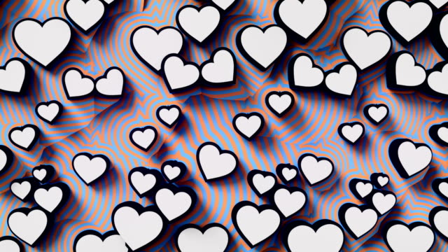 Abstract colored hearts on a pink background. Colorful sign pattern loop animation. 3d rendering. 4K, Ultra HD resolution.