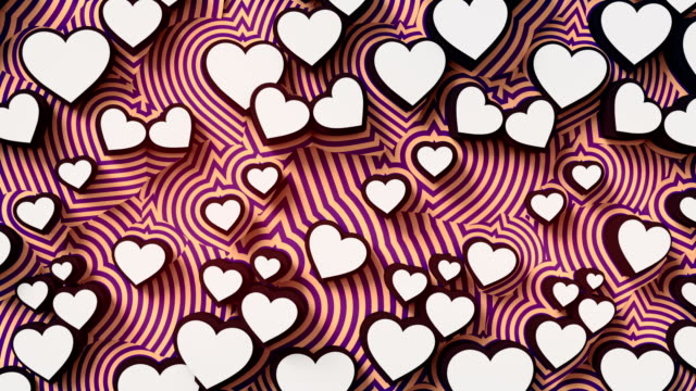 Abstract colored hearts on a red background. Colorful sign pattern loop animation. 3d rendering. 4K, Ultra HD resolution.