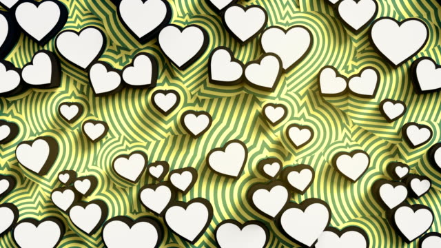 Abstract colored hearts on a yellow background. Colorful sign pattern loop animation. 3d rendering. 4K, Ultra HD resolution.