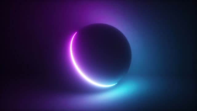 vídeos de stock e filmes b-roll de abstract colorful glowing neon light sphere - glow