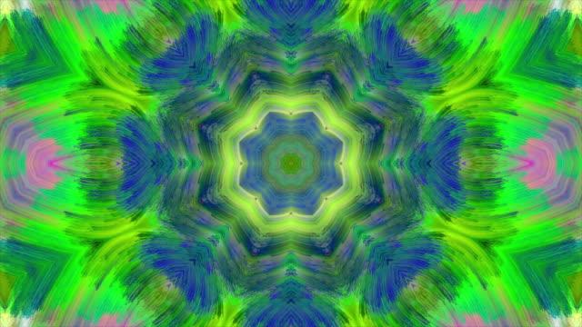 vídeos de stock e filmes b-roll de abstract colorful kaleidoscopic loop background. - mosaicos flores