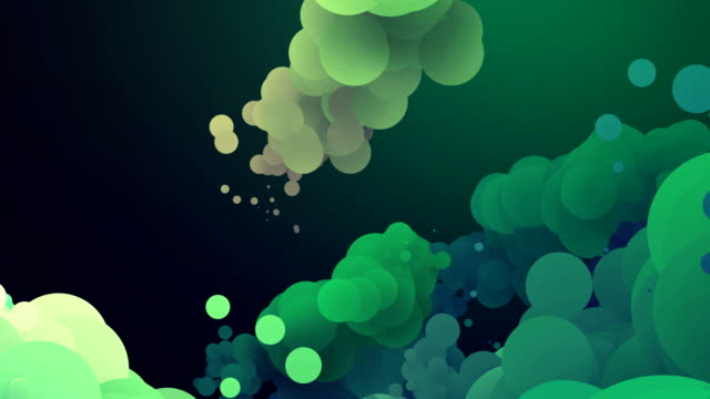 abstract colorful motion background with green moving circles in loop video
