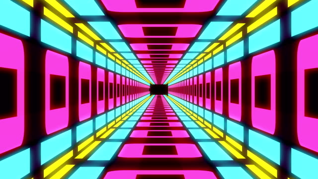 abstract colorful moving tunnel background - узор калейдоскоп стоковые видео и кадры b-roll