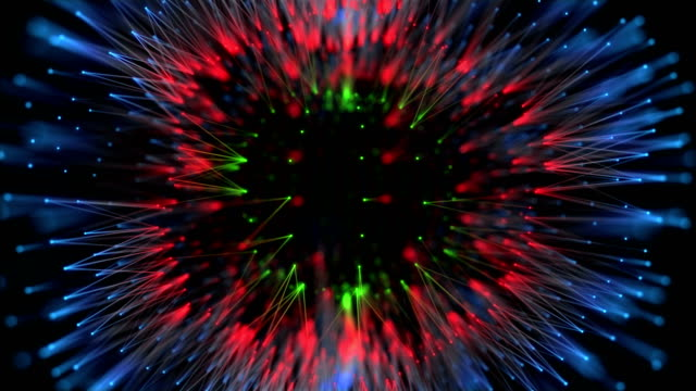 soyut renkli organik küre, noktalar ve küre biçimde bağlantıları - organik stok videoları ve detay görüntü çekimi