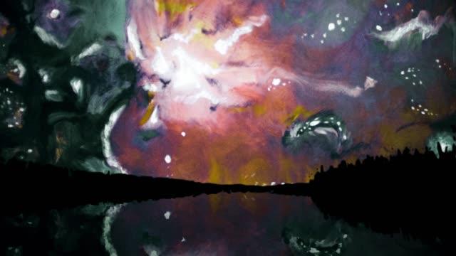 動きで抽象的なカラフルな塗料。サイケデリック抽象化 ビデオ