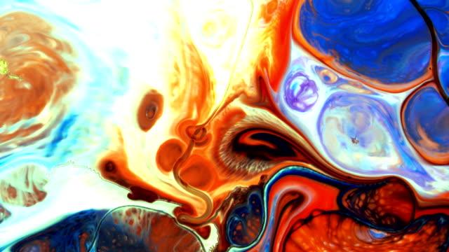 abstrakt färgglada paint ink konstnärlig rörelse på mjölk och vatten - akrylmålning bildbanksvideor och videomaterial från bakom kulisserna