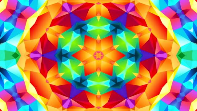 抽象的なカラフルな対称パターン装飾装飾的な万華鏡運動の幾何学的な円と星の形 - 万華鏡模様点の映像素材/bロール