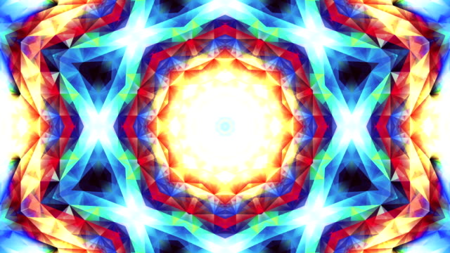 Abstract colorful triangle psychedelic kaleidoscope pattern background footage video