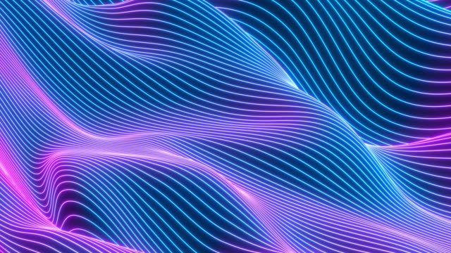 Abstract colorful wavy background in bright neon colors. Looped animation. Abstract colorful wavy background in bright neon colors. Modern colorful wallpaper. 3d rendering. wave pattern stock videos & royalty-free footage