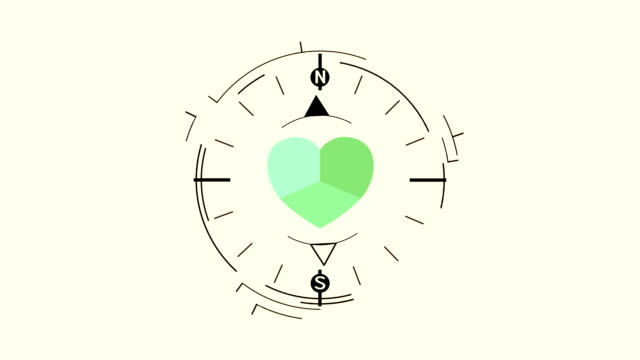 Abstract compass symbol flat animation with green heart Abstract compass symbol flat animation with green heart on light background navigational compass stock videos & royalty-free footage