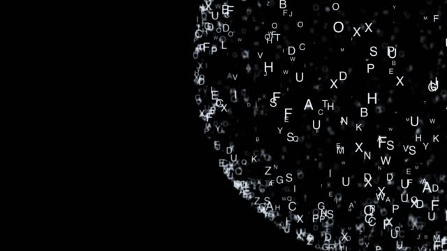 Abstract composition from chaotic moving letters are placed in a shape and cast a shadow 4K video
