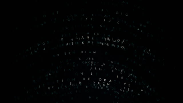 Abstract composition from moving letters and words 4K video