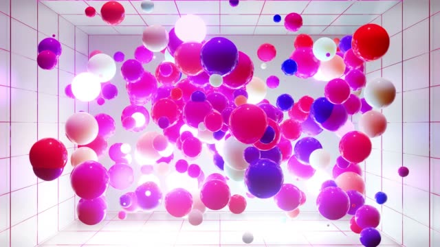 Abstract composition of colorful balls in air, which randomly light up and reflect in each other. Multicolored spheres in air as simple geometric light background with light effects. In light room video