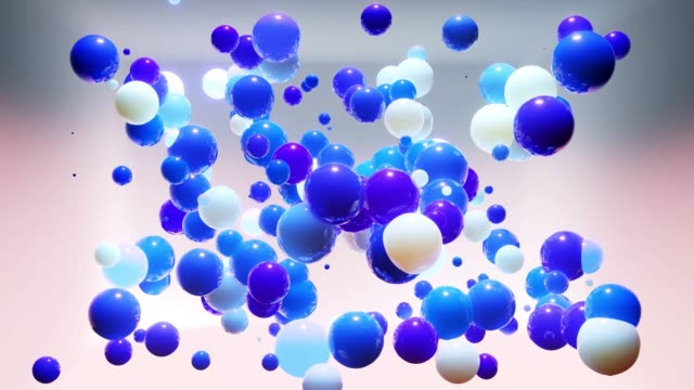 Abstract composition of colorful balls in air, which randomly light up and reflect in each other. Multicolored spheres in air as simple geometric light background with light effects in ligth room video