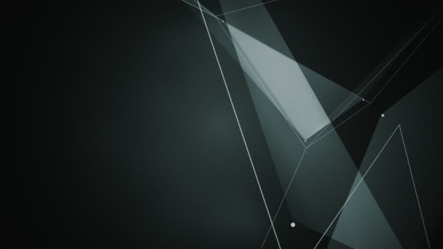 abstrakta datorgenererade sömlös loop abstrakta geometriska rörelse från kaotiska långsam rörliga prickar, linjer och trianglar bakgrund. - pyramidform bildbanksvideor och videomaterial från bakom kulisserna
