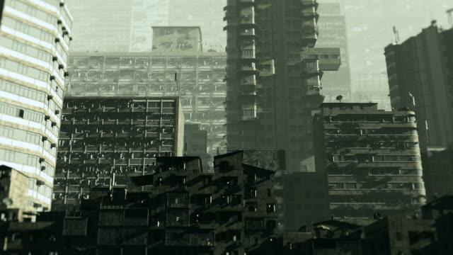 そびえ立つ石造りの建物と抽象的なコンクリートの都市の背景 - 都市 モノクロ点の映像素材/bロール