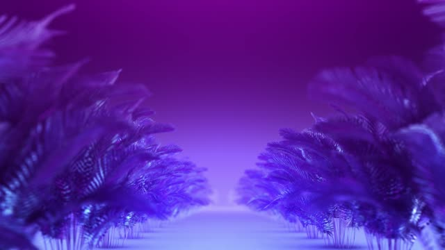 abstract corridor of blue-violet plants - exotic stock videos & royalty-free footage