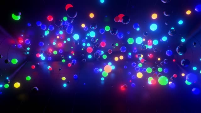 3D abstract creative animation background with neon glow multi-colored spheres inside camera, reflecting walls. Luminous balls fly inside dark chamber. Neon light orbs fly beautifully. 1 video