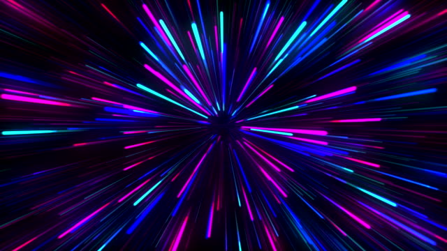 abstract creative cosmic background. hyper jump into another galaxy. speed of light, neon glowing rays in motion. - neon video stock e b–roll