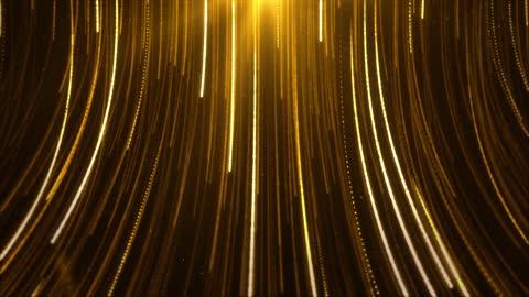 stockvideo's en b-roll-footage met abstracte creatieve gouden stralen gestreept patroon loop glanzende textuurdeeltjes die neer vallen. - glamour