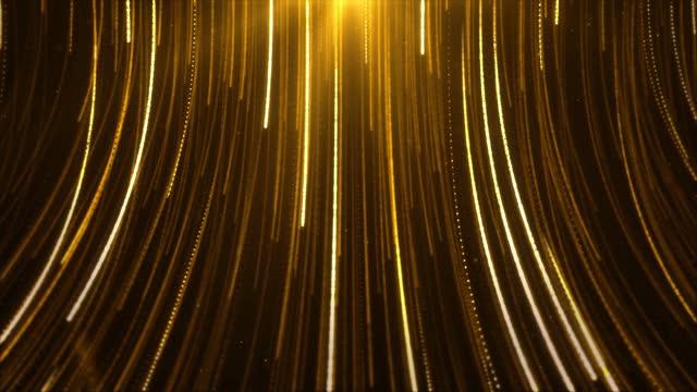 astratto creative golden raggi a strisce modello loop particelle di texture lucide che cadono. - fascino video stock e b–roll