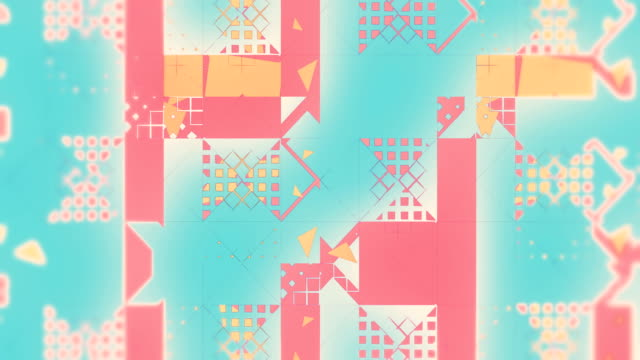 Abstract creative pattern of triangles, squares, lines, loopable background in blue, yellow and pink