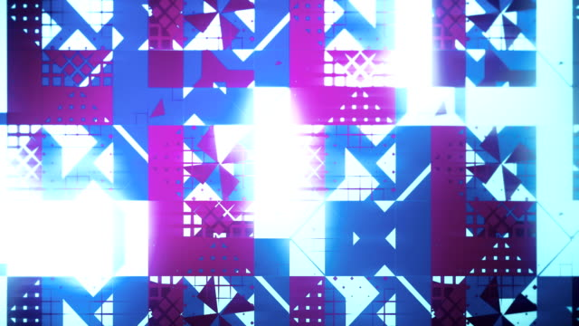 Abstract creative pattern of triangles, squares, lines, loopable background in blue and purple