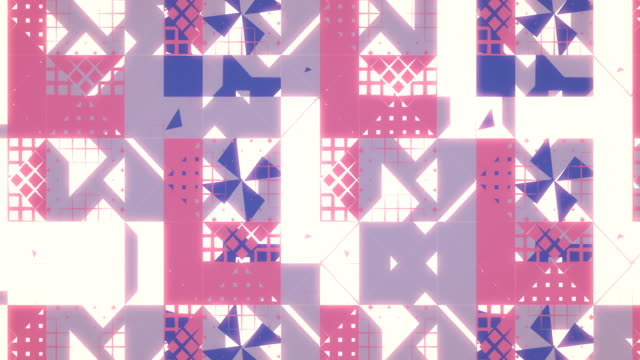 Abstract creative pattern of triangles, squares, lines, loopable background