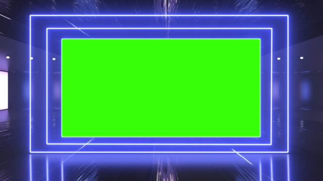 vidéos et rushes de tunnel créatif abstrait et panneau d'affichage de canal alpha d'écran vert s'maquettent. néon, bleu violet conduit bars et la technologie, sci fi, futuriste cyber punk rendu 3d avec cadre vide. - bordure