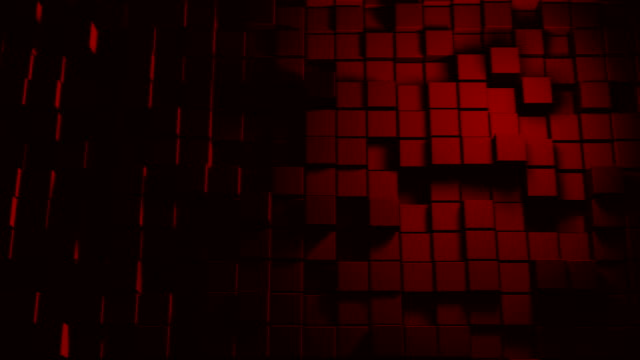 vídeos de stock e filmes b-roll de abstract cube shapes (loopable) - vr red background