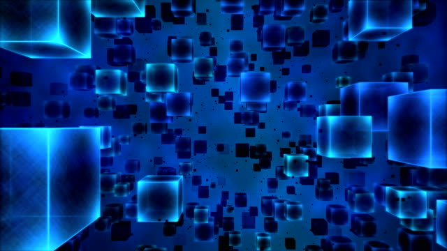 Abstract Cubes Animation - Loop Blue video