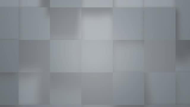 stockvideo's en b-roll-footage met abstracte kubussen achtergrond random motion, 3d animatie 4k. grijze muur van kubussen blokken bewegen uit en in. abstracte overgang, 3d geanimeerde intro. - mozaïek