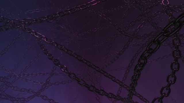 Abstract dark blue background seamless footage with metal chain and neon lighting. Horror design concept with tangled chains. 3D rendering 4K loop animation.
