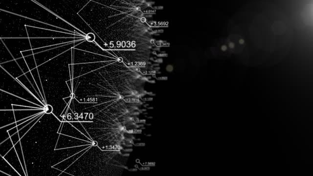 vídeos de stock, filmes e b-roll de dados de resumo e conexão no cyber-espaço com número aleatório, voando para o espaço cibernético, negócios e conceito financeiro - cifras financeiras