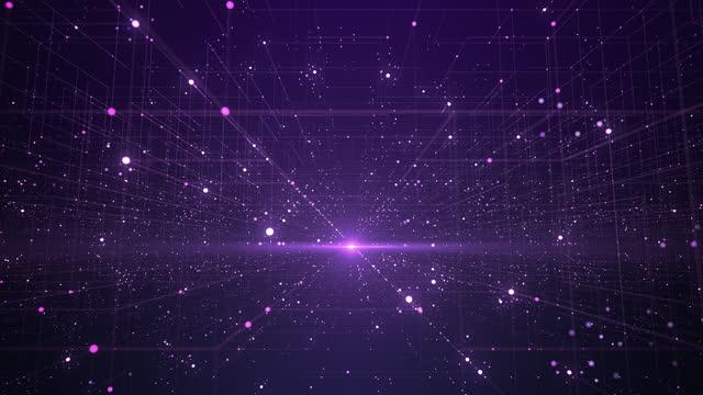 vídeos de stock, filmes e b-roll de grade de dados abstrata - loopable - tecnologia, big data, inovação digital - roxo - perspectiva espacial