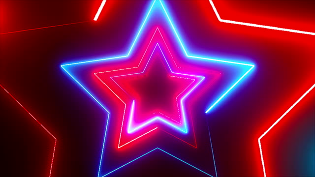 Abstract digital background with neon stars. CG animation 3d rendering Abstract digital background with neon stars. CG animation 3d rendering. Seamless loop laser stock videos & royalty-free footage
