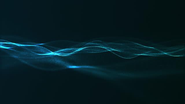 stockvideo's en b-roll-footage met abstracte digitale blauwe kleur golf met vloeiende kleine deeltjes dans beweging op golf en licht abstracte achtergrond. - golfpatroon