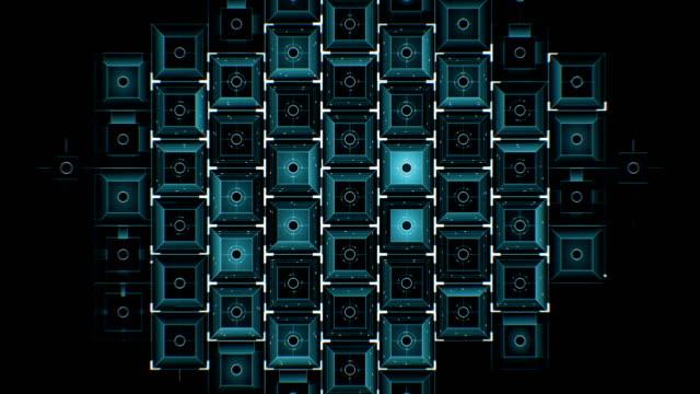 abstrakte digitale blue square icons auf schwarzem hintergrund füllen den bildschirm zeichnen. digitale technologie 3d animation. - rechteck stock-videos und b-roll-filmmaterial