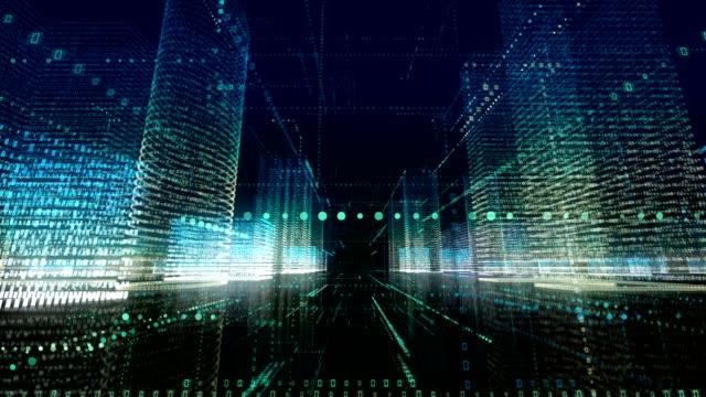 vídeos y material grabado en eventos de stock de resumen digital ciudad y echnology loopable 4k - emprendedor