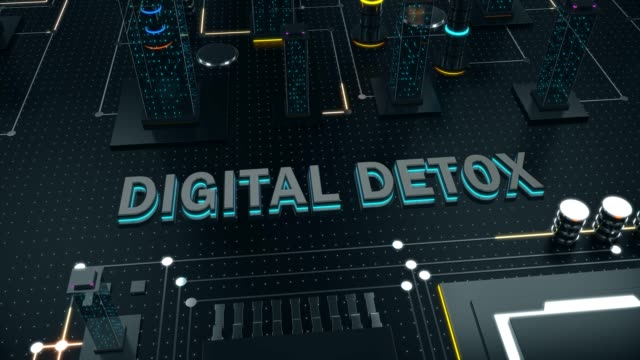 abstract digital city street with concept digital detox - disintossicazione video stock e b–roll