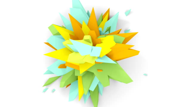 4K. Abstract Digital Flower. Version With Cyan, Yellow And Orange Colors. Seamless Looped. video