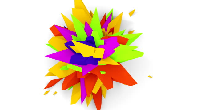 4K. Abstract Digital Flower. Version With Green, Yellow And Purple Colors. Seamless Looped. video